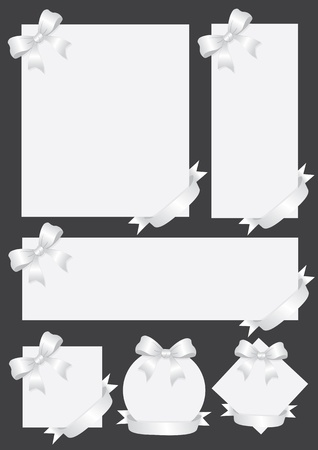 Collection of silver gift cards notes with ribbons  Vector illustration  Vector