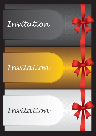 Luxury invitation cards with red ribbon bow  Vector illustration  Stock Vector - 16843300