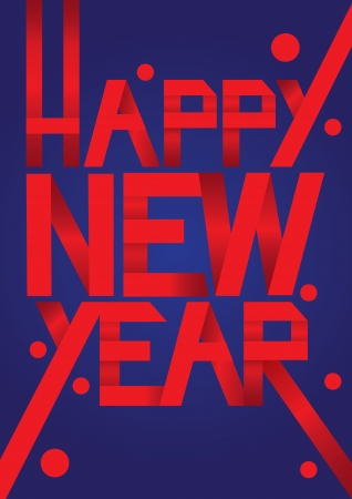 paper folding: Red Paper Folding text with new year greeting message  Vector illustration