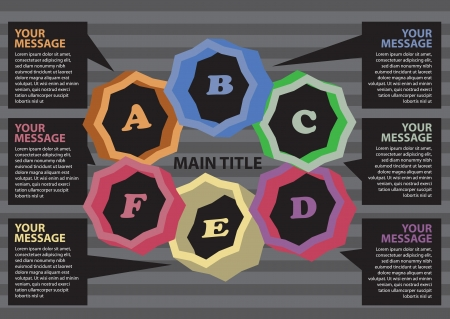 alphabetical order: Layout design for progress circle with different colors  Vector illustration  Illustration