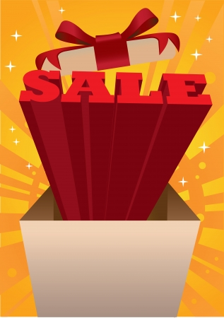 Open box with sale messages coming out with rainbow and stars. Vector illustration. Vector