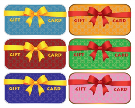Colorful gift cards with ribbons  background