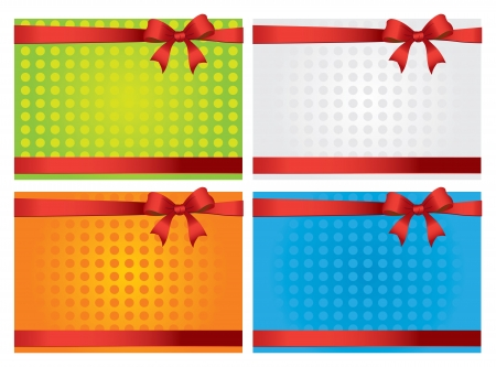 Colorful gift cards with ribbons  background Vector