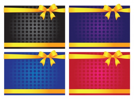 Colorful gift cards with ribbons  Vector background Vector