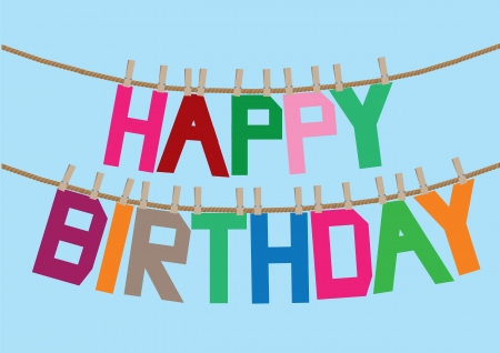 Birthday message with different colors on the clothesline  Vector illustration  Vector