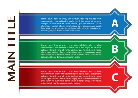 own: Layout design of three stripe banners with own area for text. Vector illustration.