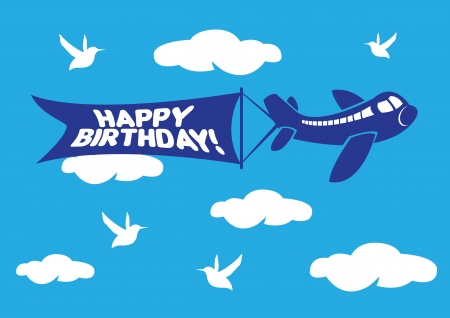 Vector illustration of aeroplane with birthday flying message banner. Vector
