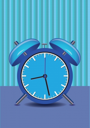 Vector illustration of a alarm clock in blue. Stock Vector - 23856437