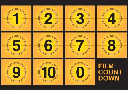 Countdown on film screen on yellow background  Vector illustration  Vector