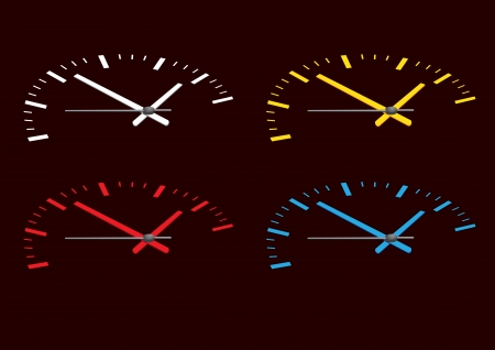reflects: Vector illustration of four colored watch face on a black background