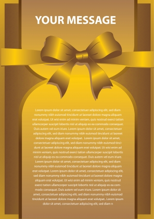 Golden gift card with ribbons  Vector background Vector