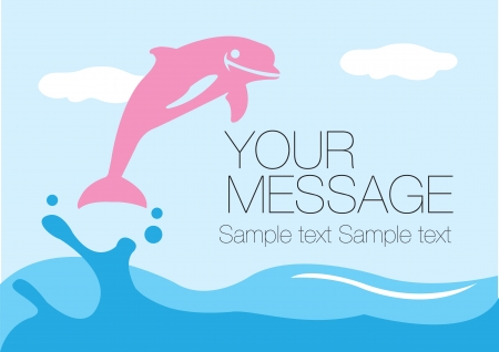 cruise cartoon: Pink dolphin splashing out of the water surface  Vector layout design