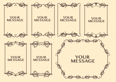 dashes: Vector vintage decorative design borders and frames