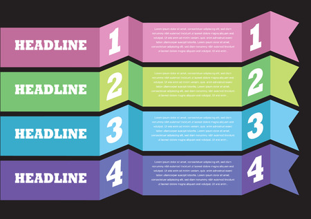 set of numbers: Layout design of paper banner with own area for text. Vector illustration. Illustration