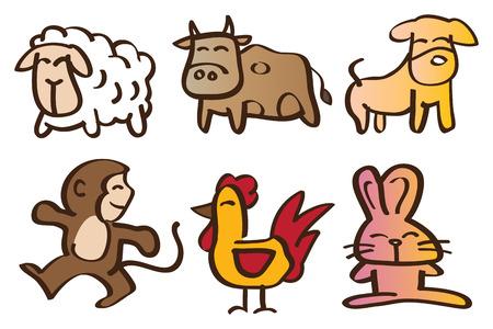 cute cartoon animals: Vector illustration of six cute cartoon animals.  Illustration