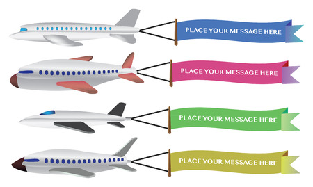 Vector illustration of a four airplanes with colored flying banner. Stock Illustratie