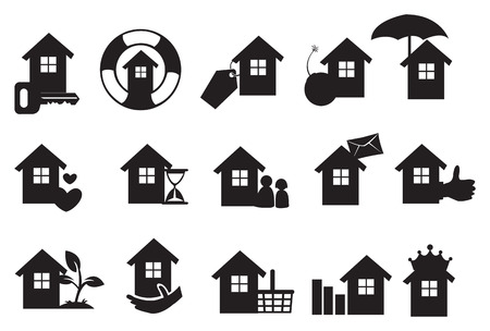 Real estate icons set in black. Vector illustration Stock Vector - 26076594