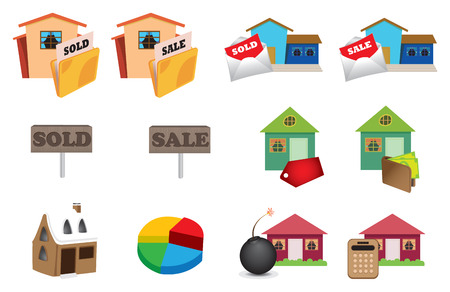 Real estate icons set in colors. Vector illustration Vector
