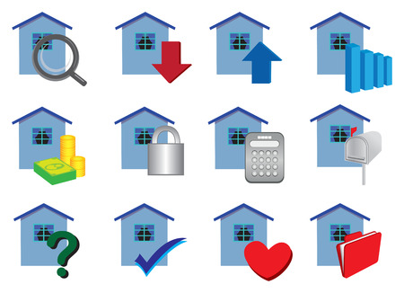 Immobilien-Symbole in Farben. Vektor-Illustration Vektorgrafik