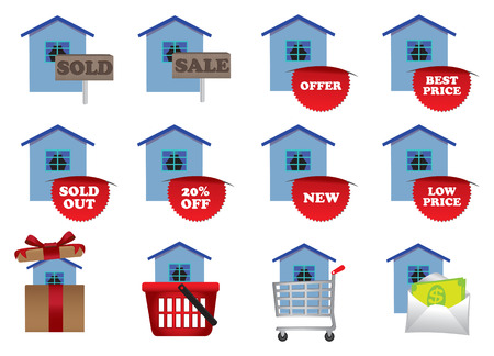 Real estate icons set in colors. Vector illustration Stock Vector - 26076396