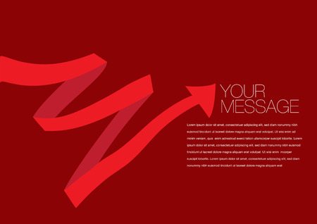 red colored ribbon layout Vector