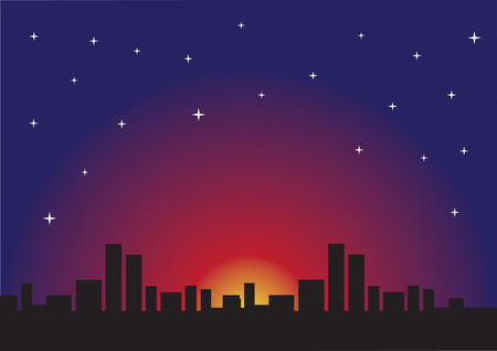 Silhouette of urban skyline against romantic starry evening Vector