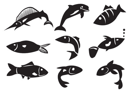 illustration of different fish icons Vector