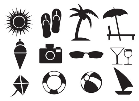 Summer related Isolated objects against white background Vector