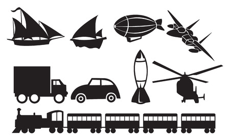 illustration of different modes of transportation vehicles silhouettes. Vector