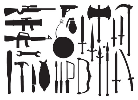 hand grenade: Black silhouette of different types of tools and weapons against white background Illustration