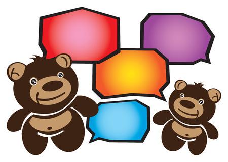 conversing: Vector illustration of two cartoon brown teddy bears conversing. Speech bubbles for text input