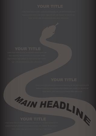 origami snake: Black snake layout design Illustration
