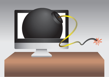 ignited: Creative illustration artwork of an ignited bomb coming out of a computer monitor