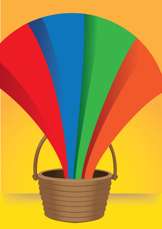 emerge: A rainbow coming out from a bucket