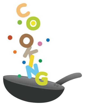 wok: Creative vector illustration of fun cooking.