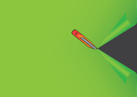 penknife: Vector illustration of an orange penknife cutting a green paper to reveal black background. Element of design with space for text.