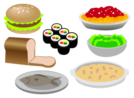 Vector illustration of different kinds of common food: burger, bread, fish, sushi, spaghetti, green salad, baked cheese and macaroni Vector