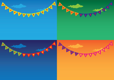 Vector illustration of colorful triangular flags as festive bunting and garland decoration hanging in outdoor for birthday celebration. A collection of four different background setting with copyspace. Vector