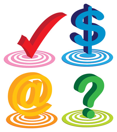 Vector illustration of four different useful icons for technology business. Bold Red tick for yes, blue dollar sign for money, yellow at symbol for contact and green question mark for questions or Q&A. Vector