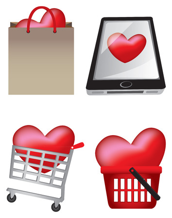 Vector illustration of heart icons in different shopping scenarios to represent the love for retail therapy. Vector