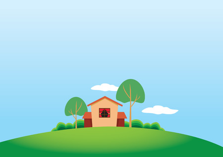 Vector illustration of the side-view of a cute house and trees in a quiet nature setting. Copy space available. Vector