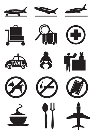 Vector illustration of some icons and signs commonly found in airport. Vector