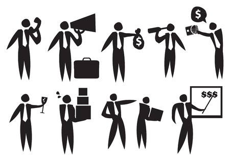 dismiss: Icon of Business man in the workplace with different emotions. Illustration