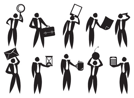 Icon of Business man in the workplace with different emotions. Vector
