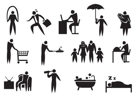 daily routine: Icono del hombre haciendo su rutina diaria. Ilustraci�n del vector.