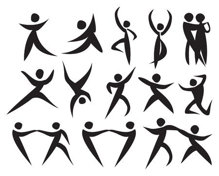 tango dance: Icon of people dancing in different styles. Vector illustration.