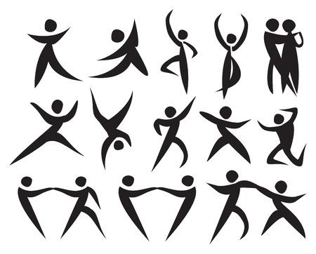 mujeres latinas: Icono de personas bailando en diferentes estilos. Ilustraci�n del vector.