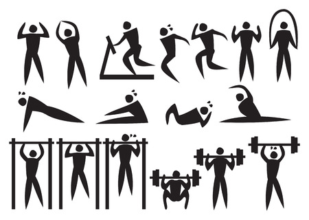 Icon of sport man in the different exercise activities. Vector illustration. Illustration