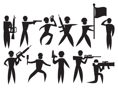Man Icon of miliary man with weapons, flags and bombs. Vector illustration. Vector
