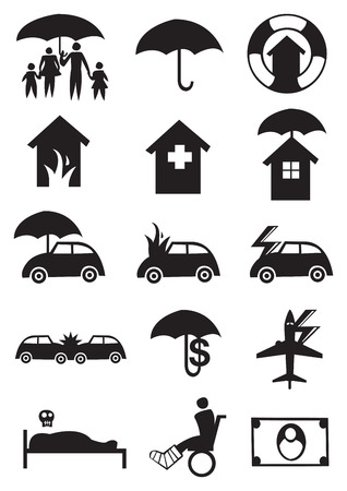 accident dead: Vector illustration for different icons for the insurance industry Illustration